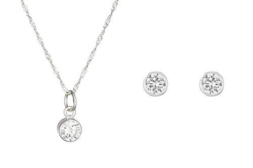 Córdoba Jewels | Conjunto de Gargantilla y Pendientes en Plata de Ley 925 con circonita con diseño Chatón Zirconium Silver