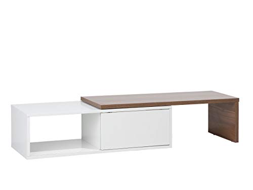 Modern TV Stand Media Unit MDF Shelves Sliding Top White and Wood Finish Yonkers