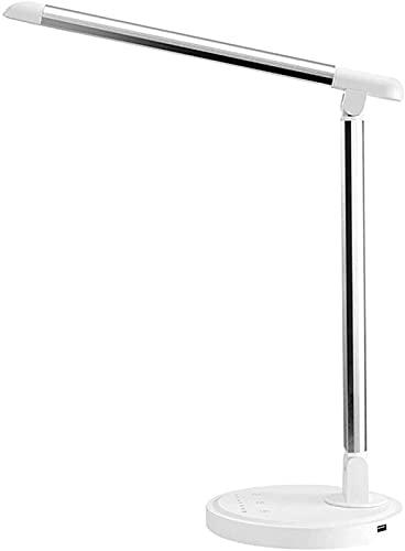 FZMT Lámpara de Escritorio Lámparas de Mesa LED Que cuidan los Ojos Lámpara de Lectura de Brillo Regulable Control táctil, Luz de Escritorio con Puerto de Carga USB para el hogar, la Oficina, el TR