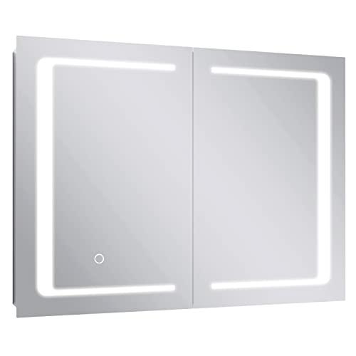 Armario Baño con Espejo y Luz LED Mueble Baño de Acero Inoxidable con Iluminación Armario Baño Pared Temperatura Regulable de 3 Colores Interruptor de Sensor Táctil 80x60x13cm
