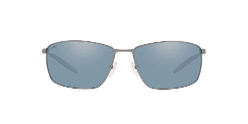 Costa Del Mar Men's Turret Rectangular Sunglasses, Matte Silver/Grey Silver Mirrored Polarized, 63 mm
