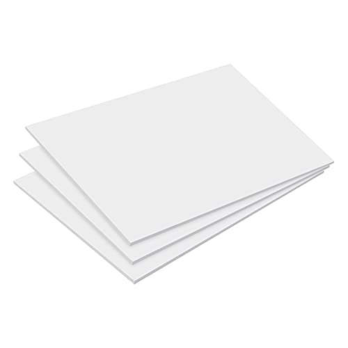 """Expanded PVC Sheet 5"""" x 7"""" inches White Printable Rigid Plastic Board Sheet, Ideal for Signage, Displays, and Craft Projects, Durable Plastic Sheet Waterproof for Outdoor Use (White-(1/8""""), 3-Pack)"""