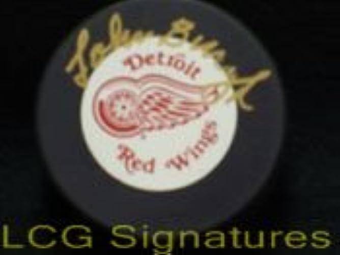Signé bucyk, Johnny (Detroit rouge Ailes) Detroit rouge Ailes Hockey Puck Autographe