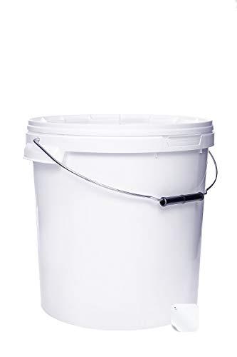 1 seau de 20 litres avec couvercle blanc empilable pour lait, miel ou lait - En plastique avec ouverture alimentaire - Conteneur alimentaire - Seau vide pour farine, eau