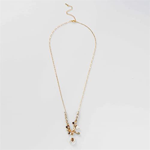 JSJJARF Kristallstein Anhänger Vintage Lange Anhänger Halskette Handgemachte Wassertropfen Perlen Charm Kristall Anhänger Halsketten Für Frauen (Metal Color : Style 1)
