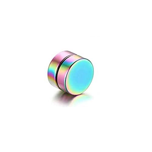LUMOUS Pendientes magnéticos de nariz de acero inoxidable, pendientes falsos con mancuerna de disco pulido, pendientes de nariz falsa y no perforantes, para hombres y mujeres, 12 mm, par de arco iris