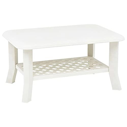 Multistore 2002,robusto tavolino da giardino o da campeggio che misura 90x 60x 47cm, in plastica, di colore: bianco
