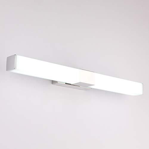 Aufun LED Spiegelleuchte Bad 80 cm Badleuchte 24W 1920lm Wandleuchte aus Edelstahl Acryl Moderne Art Spiegel Lampe IP44 Wasserdicht für Badezimmer, Schlafzimmer 4000K-6000K - 24W Kaltweiß, 80 cm