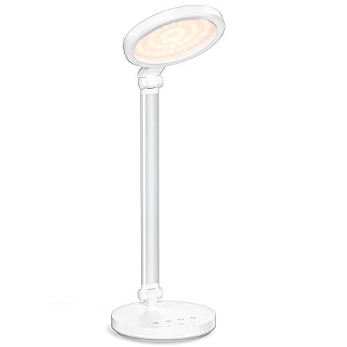 LENCENT Lampada da Scrivania LE Luce per Protezione Oculare Lampada da Tavolo, Lampada da Ufficio Luce Attenuante con USB Carica, Sensore Tattile, Pieghevole, Lampada da Letto, per Studio in Ufficio