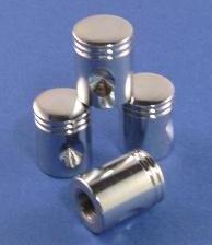 4 Stück MHW Ventilkappen Kolben chrom, Auto / Fahrrad / Valve Caps, massiv, 026211