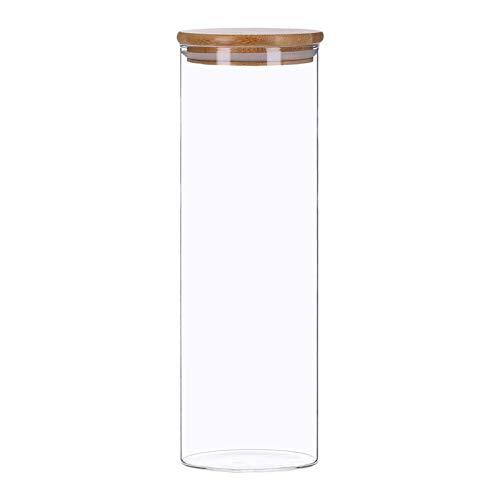 Vorratsdosen aus Glas mit Bambusdeckel, Vorratsgläser, Glasbehälter | 350 ml - 2200 ml | luftdicht, Spülmaschinenfest, Mottensicher (2200 ml)