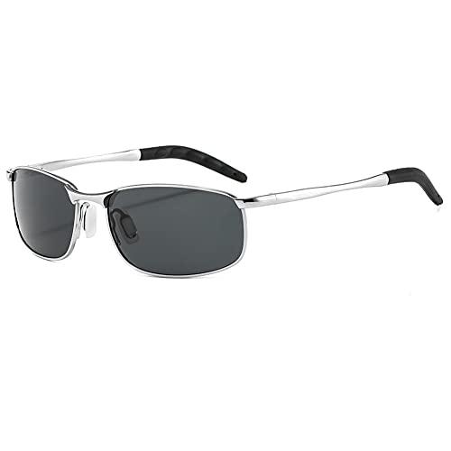 DovSnnx Unisex Polarizadas Gafas De Sol 100% Protección UV400 Sunglasses para Hombre Y Mujer Gafas De Aviador Gafas De Ciclismo Ultraligero Montura Plateada con Lentes Grises