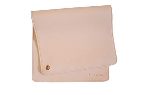 Ava + Oliver Vegan Leather Baby Changing Mat - Multipurpose Portable Wipeable Waterproof Diaper Pad - Compact for Travel (16 x 30 in) (Warm Sand)
