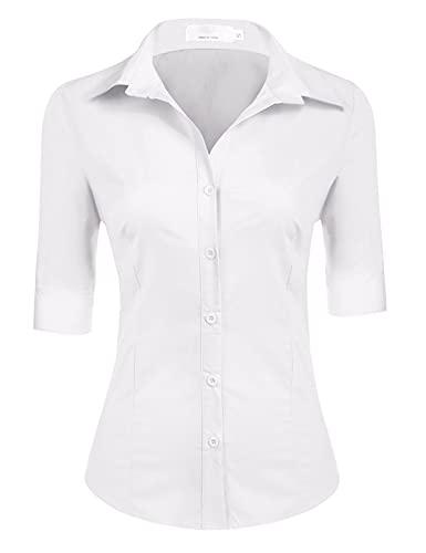UNibelle Hemden Damen elegant 3/4 arm Shirt Damen weiße hemdbluse Damen Baumwolle Business Bluse einfarbig für Beruf (Weiß XL)