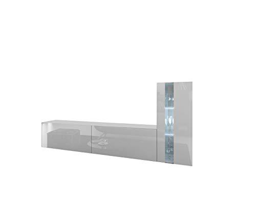 Home Direct Future 45, Modernes Wohnzimmer, Wohnwände, Wohnschränke, Schrankwand, Möbel 1B (Front: Weiß Hochglanz/Korpus: Weiß Matt 45/HG/W/2 1B, LED blau)