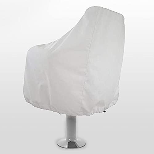 Janedream Owner Captain Boat - Funda de protección para asiento con cierre elástico, resistente a los rayos UV, impermeable, color blanco