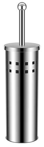 Juego de escobilla de baño y escobillero cromado - Fabricado en acero inoxidable, componentes internos de plástico lavable - Diseño elegante - Color plata