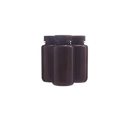KENZIUM - Pack 12 x Frascos de HDPE con Tapa, Cuello Ancho, de 250 ml | Ámbar, Botellas Redondas Opacas, Boca Ancha de Polipropileno, Para Laboratorio, Almacenamiento Muestras Sólidas y Líquidas