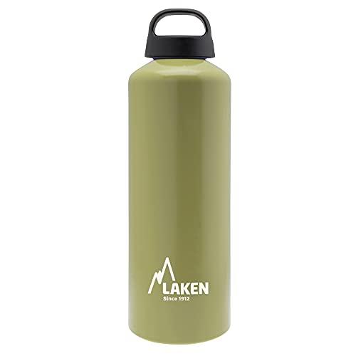 Laken Classic Botella de Agua Cantimplora de Aluminio con Tapón de Rosca y Boca Ancha, 1L Khaki