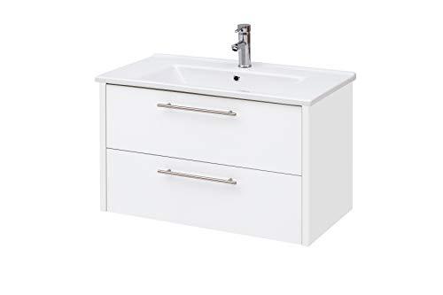 Schildmeyer Trient Waschtisch 144596, Holzwerkstoff, weiß matt, 85 x 45,5 x 54,5 cm