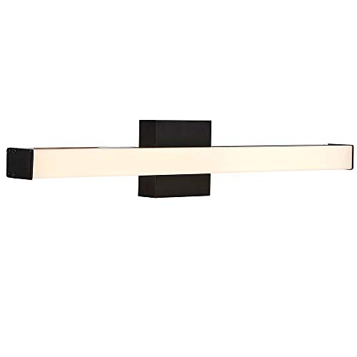 "24"" Thin Rectangular Bar Modern LED Vanity Light Black Bathroom Fixture"
