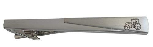 Unbekannt Traktor Krawattennadel Krawattenklammer mit Gravur Trekker silbern matt glänzend ca. 7 cm inkl. dunkler Geschenkbox
