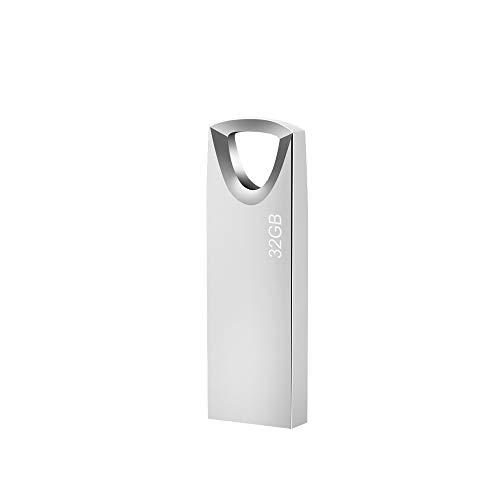 USB Stick 32GB, Slim Speicherstick 32GB Wasserdicht Pen Drive USB-Sticks 32 GB mit Schlüsselanhänger für Schule Büro Auto PC Laptop (Silber)