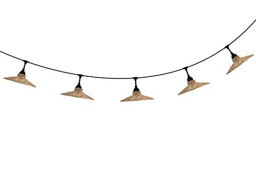 PR Home Cadena de luces para exteriores de ratán marrón natural, Flex Out Sari, IP44, 5 bombillas E2