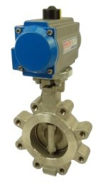 """3"""" Air Actuated Butterfly Valve 300# Lug SS SS 80 PSI SR Fail Open Actuator 600 PSI Line Pressure by Max-Seal Actuated"""