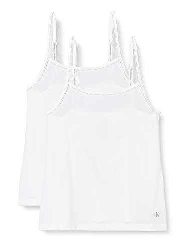 Calvin Klein Camisole 2pk Top de Pijama, Blanco (White 100), L para Mujer