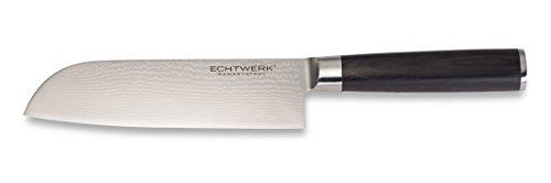 ECHTWERK EW-DM-0360 Damastmesser Santokumesser, Kochmesser, Klinge ca. 18cm, Holzgriff, Küchenmesser