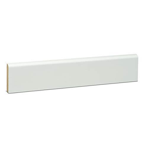 KGM Deckleiste weiss 10x58mm | Tapetenleisten weiß aus massiver Kiefer ✓vielseitig einsetzbar ✓Kiefer massiv ✓weiß deckend lackiert | schmale Sockelleisten oben Rund Länge 2.4m
