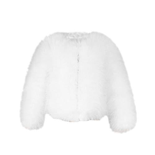 YuanDian Donna Autunno E Inverno Casuale Colore Solido Corto Artificiale Faux Pellicce Ecologiche Giubbotto Caldo Morbido Elegante Pelliccia Corta Giacca Cappotto Bianco M