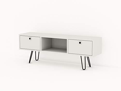 Alphamoebel 4941 Moda TV Board Lowboard Fernsehtisch Fernsehschrank Sideboard Schrank Tisch für Wohnzimmer, Weiß, mit 2 Türen, 120 x 43 x 29 cm
