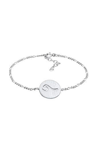 Elli Armband Damen Plättchen Welle Meer Strand Maritim verstellbar aus 925 Sterling Silber
