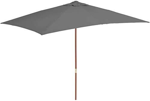 SHANCL Garden Parasol Proteger al Aire Libre al Aire Libre Parasol con Palo de Madera 200 * 300 cm Antracita Inicio Jardín Jardín del césped al Aire Libre