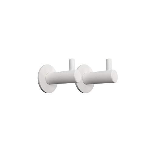 Kon-fort Home Colgador toalla baño, Juego 2 accesorios baño de diseño, acero inoxidable blanco, para colgar toallas, albornoces, sombreros. Perchas de pared resistentes, color blanco mate.