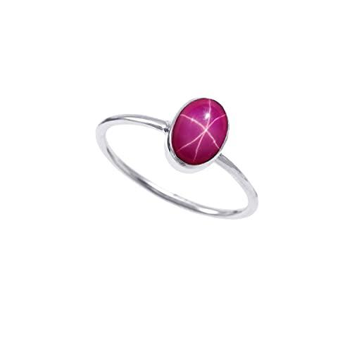 Anillo de plata de ley 925|De piedras preciosas Ovaladas Cabujón de Estrella de rubí natural de calidad Para mujer|Anillo de compromiso, anillo astrológico|Talla de anillo 13 (D14)