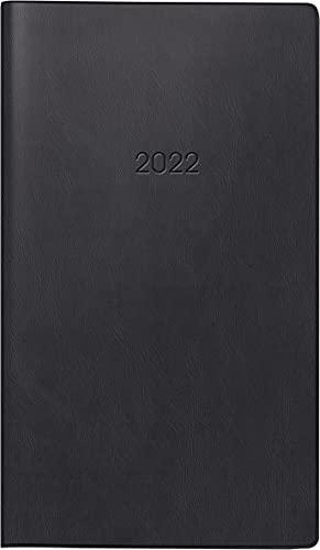 BRUNNEN 1075628902 Taschenkalender/Wochen-Sichtkalender Modell 756, 2 Seiten = 1 Woche, 8,7 x 15,3 cm, Kunststoff-Einband schwarz, Kalendarium 2022
