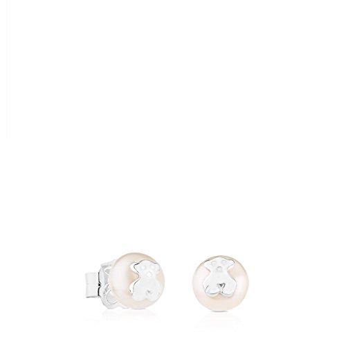 TOUS Bear - Pendientes de Plata sobre Perlas Cultivadas 0,6 cm