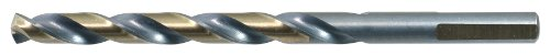 Drillco 400F Series High-Speed Steel Jobber Length Drill Bit, Black/Gold Oxide Finish, Round Shank with Flats, Spiral Flute, 140 Degree Split Point, 3/8