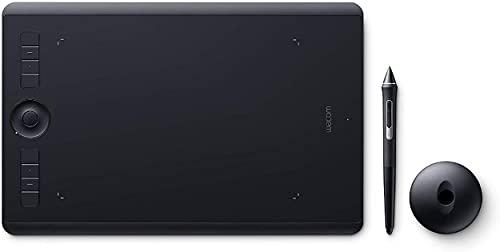 Wacom Intuos Pro M Tableta gráfica con lápiz digital Pro Pen 2 / Tableta digitalizadora para pintura y diseño digital / Portalápices con 10 puntas / Compatible con Windows y MacOS / Negro