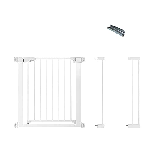 Safety Gate, Metal Gate Guardrail Expandable Baby Pet Safety Gate Auto-Close, Pressure Fit Safety Stair Gates, White(Size:96-103cm)