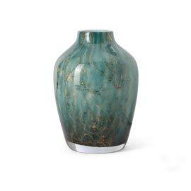 Design vaas Fidrio - glas kunst sculptuur - Sorobon - dark ocean - mondgeblazen - 28 cm hoog