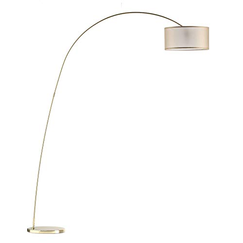 Modernluci lampe à arc contemporaine, Lampadaire pour le salon, la chambre à coucher, la lampe sur pied contemporaine, style scandinave, avec textile, Ø 40 cm, hauteur 210 cm, douille E27,Laiton