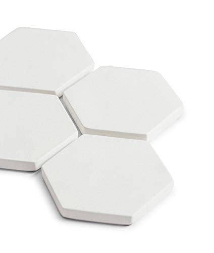 Iron Lily Concrete Drink Coasters, Modern Colors and Heat Resistant for Hot Coffee Tea Cup – 4 Pack, White