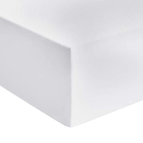 Amazon Basics - Premium-Spannbetttuch, Jersey, Weiß - 120 x 200 cm
