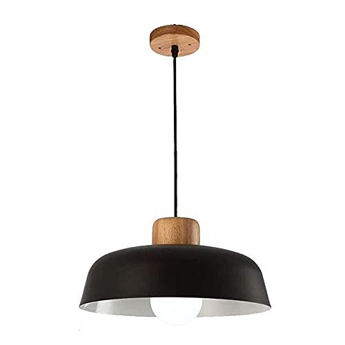 Lámpara colgante negra para mesa de comedor, vintage, industrial, E27, lámpara colgante de madera y metal, altura regulable, lámpara colgante para salón, comedor, dormitorio, cocina, diámetro 30 cm
