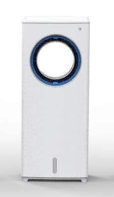 Climatizador Evaporativo Portátil, Enfriador de Aire Silencioso, 3 Velocidades, 8H, Control Dual, Ventilador de Torre 3 en 1 para Refresca, Ventila y Humidifica, Ventilador sin Aspa para Hogar Oficina