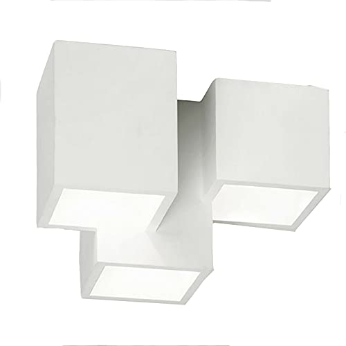 Vetrineinrete® Lampada in gesso da soffitto a 3 cubi lampadario verniciabile supporto per faretti gu10 P85